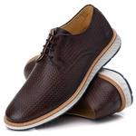 Sapato Masculino Derby Elite Trice em Couro Legítimo Café