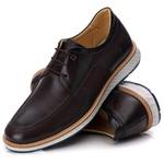 Sapato Masculino Derby Elástico em Couro Legítimo Café