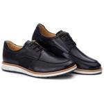 Sapato Masculino Derby Elástico em Couro Legítimo Preto