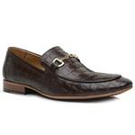 Sapato Loafer Casual Premium em Couro Legítimo Croco Marrom