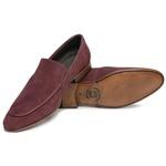 Sapato Loafer Casual Premium em Couro Camurça Bordo