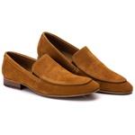 Sapato Loafer Casual Premium em Couro Camurça Mostarda