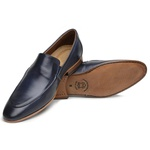 Sapato Loafer Casual Premium em Couro Liso Marinho