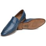 Sapato Loafer Casual Premium em Couro Liso Azul Violeta