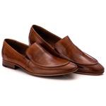 Sapato Loafer Casual Premium em Couro Liso Caramelo