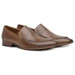 Sapato Loafer Casual Premium em Couro Liso Castanho