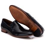 Sapato Loafer Casual Premium em Couro Liso Preto