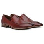 Sapato Loafer Casual Premium em Couro Liso Bordo