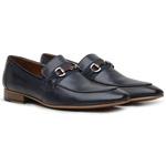 Sapato Loafer Casual Premium em Couro Azul Marinho