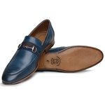 Sapato Loafer Casual Premium em Couro Azul Violeta
