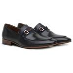 Sapato Loafer Casual Premium em Couro Croco Preto Liso