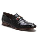 Sapato Loafer Casual Premium em Couro Croco Preto
