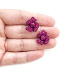 Brinco Ponteira de Flor com Strass Fuchsia