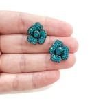 Brinco Ponteira De Flor Com Strass Blue Zircon
