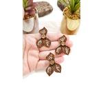 Anel Ajustável Banho Vintage de Flor com Três Pétalas