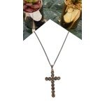 COD12379 COLAR CRUCIFIXO COM STRASS BLACK DIAMOND