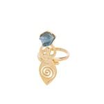 Anel Deusa Água Marinha Dourado | Coleção Guta Virtuoso