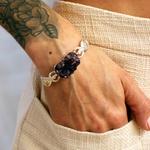 Bracelete Irmãs Drusa de Ametista Prata | Coleção Guta Virtuoso
