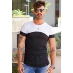 T-shirt Long Trípole White/Black