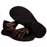 Sandália Deck masculino em couro chocolate 400