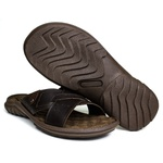 Chinelo Deck masculino em couro chocolate 5200