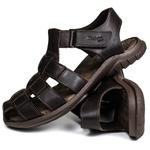 Sandália Deck masculino em couro chocolate 6500