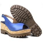 Sandália Anabela em couro Azul 30100