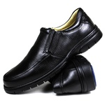 Sapato Social em Couro Floater Preto Forrado Com Couro e Palmilha Gel 3040 -FRC