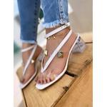 Sandália Salto Cristal Com Transp. Branco