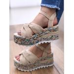 Sandália Flatform Juta Com Nó E Solado Colorido
