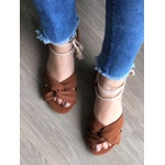 Sandalinha Baixa Com Amarração Marrom