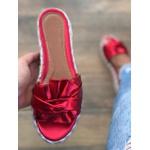 Tamanco Flatform Vermelho com Laço