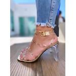 Sandália Ouro Light com Transparência e Tachinhas