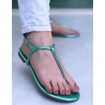 Rasteira Básica Verde Metálico