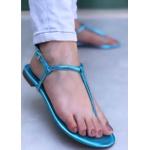 Rasteira Básico Azul Metálica
