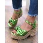 Sandália Corda com Metalizado Verde