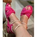 Sandalinha Baixa Com Amarração Rosa