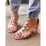Sandália Rosa com Transparência e Tachas Coloridas