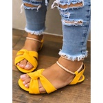 Sandalinha Baixa Com Amarração Amarela