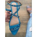 Sandália Rasteira Azul com Hotfix Colorido L.B