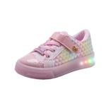 Tênis Infantil World Colors Star Light com LED 174001 Glitter Rosa 837