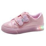 Tênis Infantil Feminino WorldColors Star Light com LED 174002 Rosa 838