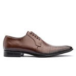 Sapato social de amarrar com estampa solado em borracha bigi 306-16 mouro 1223