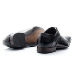 Sapato Clássico Masculino De Amarrar Solado De Couro bigi 341 preto 1244