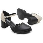 Sapato Boneca Salto Baixo Preto e Branco - Aurora - 771-020