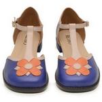 Sapato Boneca RetrÔ - Flor - 720-15 Azul/Nude