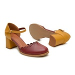 Sapato Boneca Salto Baixo Bordo e Mostarda - Aurora - 771-020