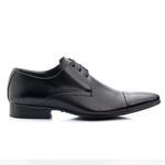 Sapato Social Classic Tipo Italiano Em Couro Na Cor Preto Estampa Furos