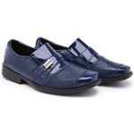 Kit Sapato Social Infantil Masculino Verniz Com Cinto 444 Azul
