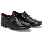 Kit 2 Pares Sapatos Sociais Infantil Masculino Verniz Com 2 Cintos 444 Preto/Azul